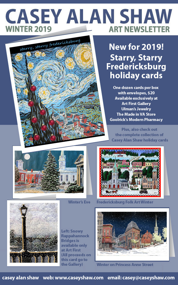 Starry starry Fredericksburg holiday cards by Casey Alan Shaw, December 2019